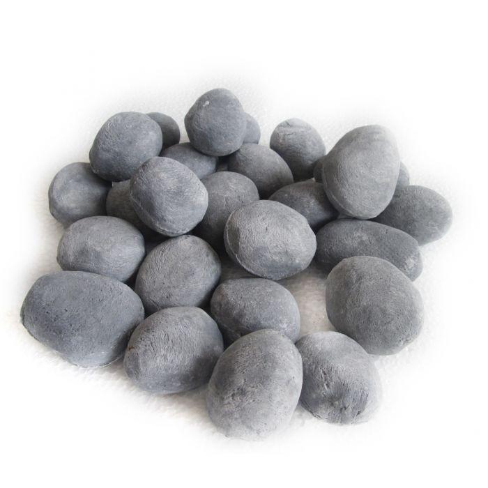 Decorative Ceramic Pebbles, 24 Pcs Grey